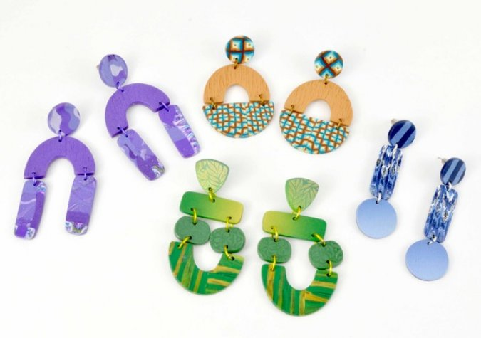Fashion Trend Earrings from Polymer Clay with Mags Bonham at CraftCast.com