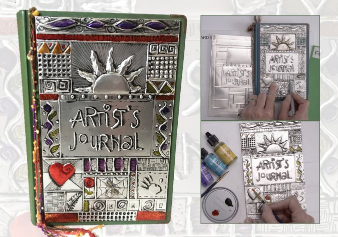Embossing a Metal Art Journal Cover with Elitia Hart at CraftCast.com