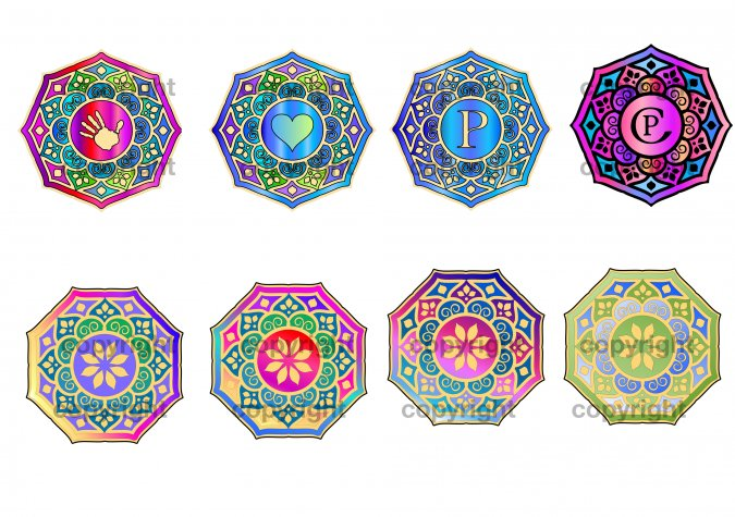Monogrammed and Color-Filled Mandalas