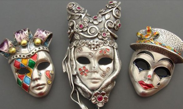 Colourful Carnival Masks from Metal Clay