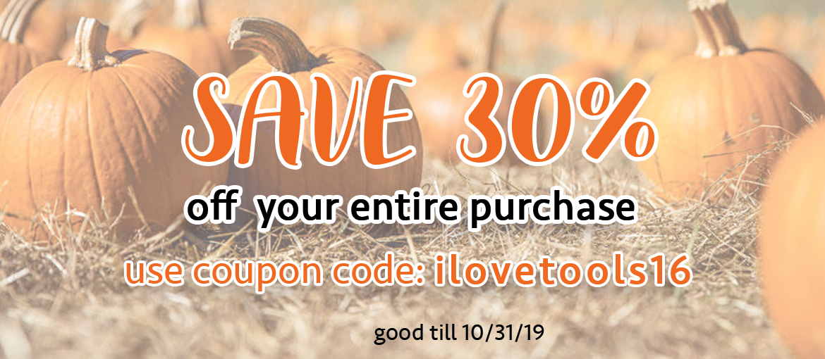 30% off Sale with coupon code i love tools16