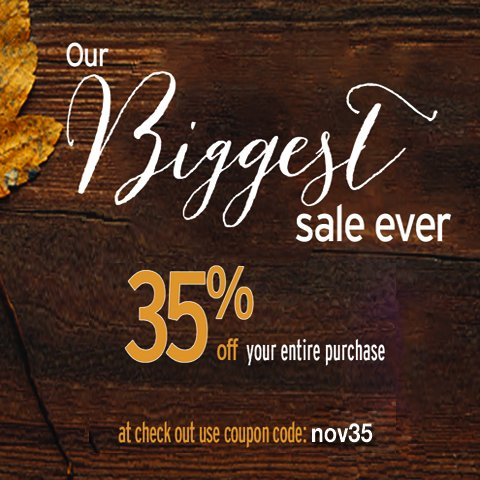 35% off Sale with coupon code nov35