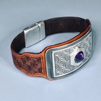 Silver Embellished Tooled Leather Cuff with Cindy Pope