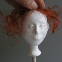 whimsical doll's head with Marlaine Verhelst