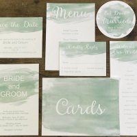 Watercolor Invitation Stationery Suite Mint