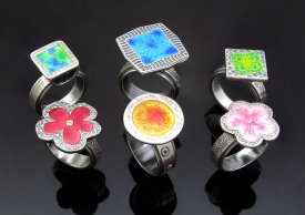 Metal Clay Enamelled Rings with Joy Funnell