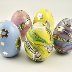 Marbled Ceramic Eggs with Metal Clay Embellishments