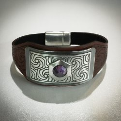 Silver Embellished Tooled Leather Cuff with a Hidden Connection with Cindy Pope at CraftCast.com