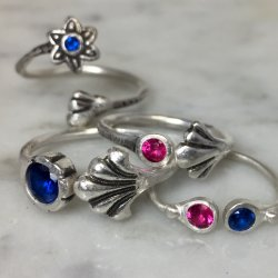Metal Clay Rings with Tube Set Gems